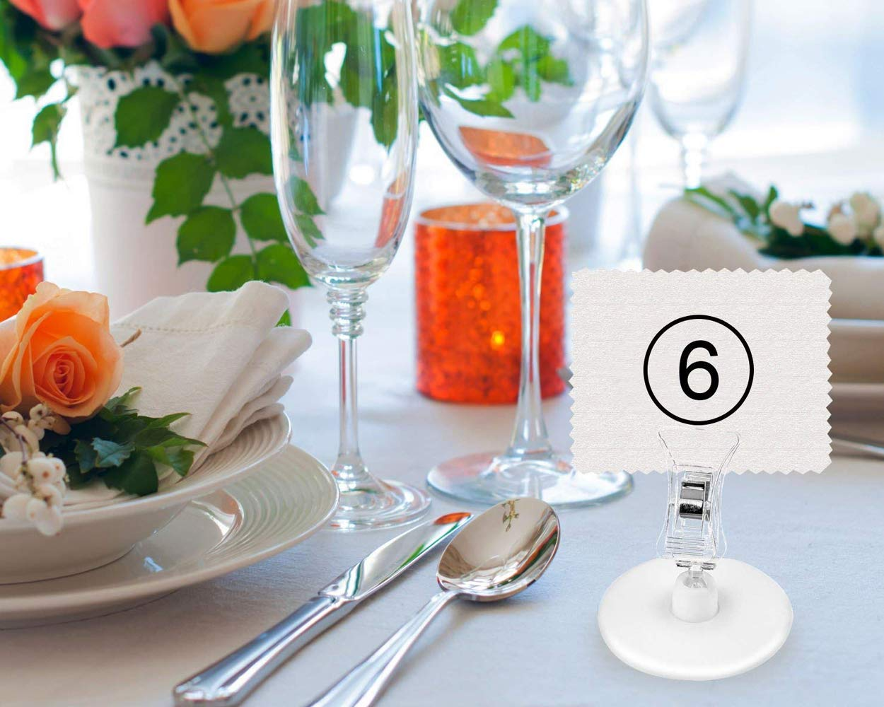 Banquetes SCSpecial Porta tarjetas de mesa de pl/ástico Conjunto de 16 Soportes para tarjetas de lugar para bodas Restaurante Titular de men/ú Clip Titular de fotos Soporte de notas para escritorio