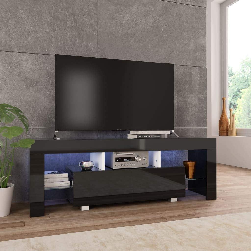 Festnight Mueble para TV con Luces LED Negro Brillante 130x35x45 cm, Mueble de TV de Salon Mesa de TV Habitacion: Amazon.es: Hogar