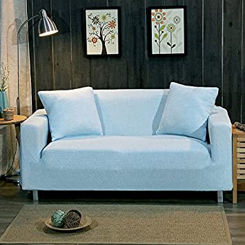Zhiyuan Housse de canapé tricotée Extensible, 2 Place, Bleu Ciel ...