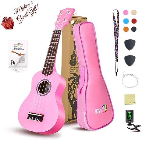 Everjoys Soprano Ukulele Beginner Pack-21 Inch w/ Gig Bag Fast Learn  Songbook Digital Tuner All in One Kit Pink