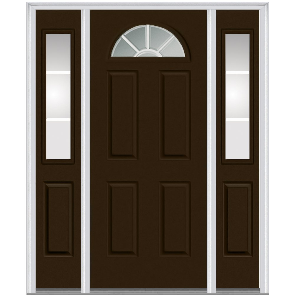 National Door Company Z005464L Steel, Brown, Left Hand In-swing, Exterior Prehung Door, Internal Grilles 1/4 Lite 4-Panel, 36''x80 with 14'' Sidelites