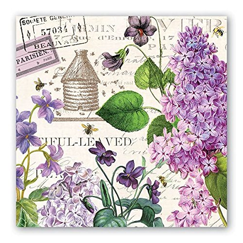 Michel Design Works 20 Count 3-Ply Paper Luncheon Napkins, Lilac/Violets