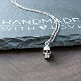 Sterling Silver Tiny Skull Charm Necklace, 18''