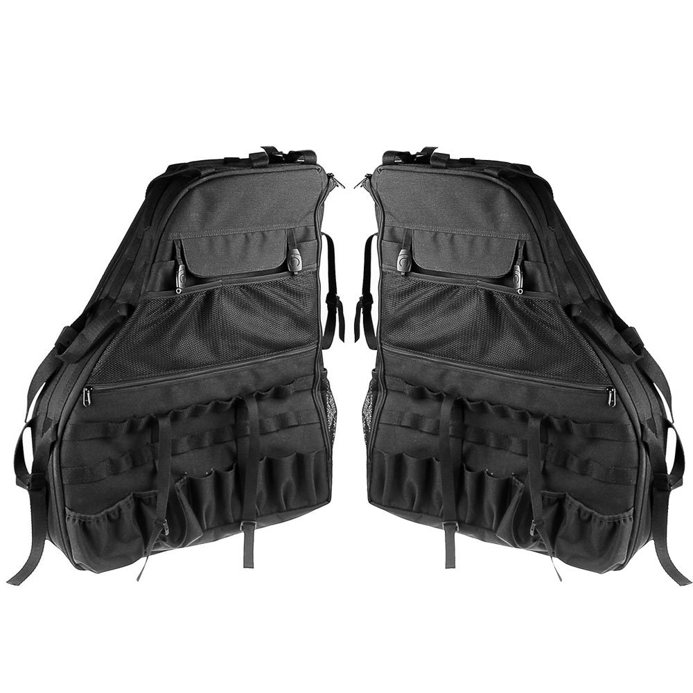 KIKIGOAL 2 pcs Roll Bar Storage Bag Cage for 2007-2017 Jeep Wrangler JK 4-door with Multi-Pockets Organizers Cargo Bag Saddlebag Tool Kits Tissue Phone Bottle Drink Gadget Holder