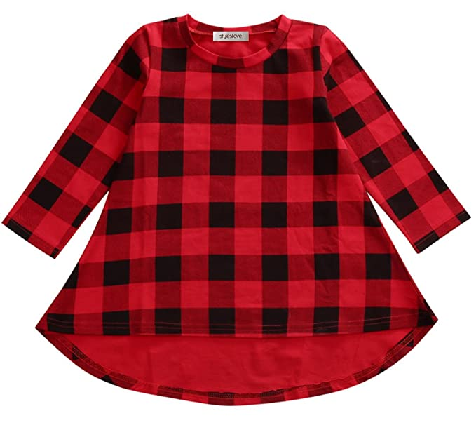 d3246e4f0b61 Amazon.com  StylesILove Little Girl Black and Red Checked Plaid Long ...