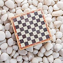 Rusticity Marble Chess Set with Folding Board and Chess Pieces | Handmade |(6.5x6.5 in)