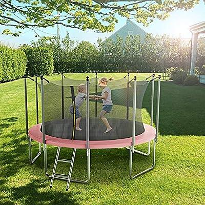 Kingjumper 14 FT Trampoline for Kids with Safety Enclosure Net, Ladder Trampoline for Kids, Spring Pad, Ladder, Combo Bounce Jump Trampoline, Black Outdoor Trampoline for Kids, Adults : Sports & Outdoors