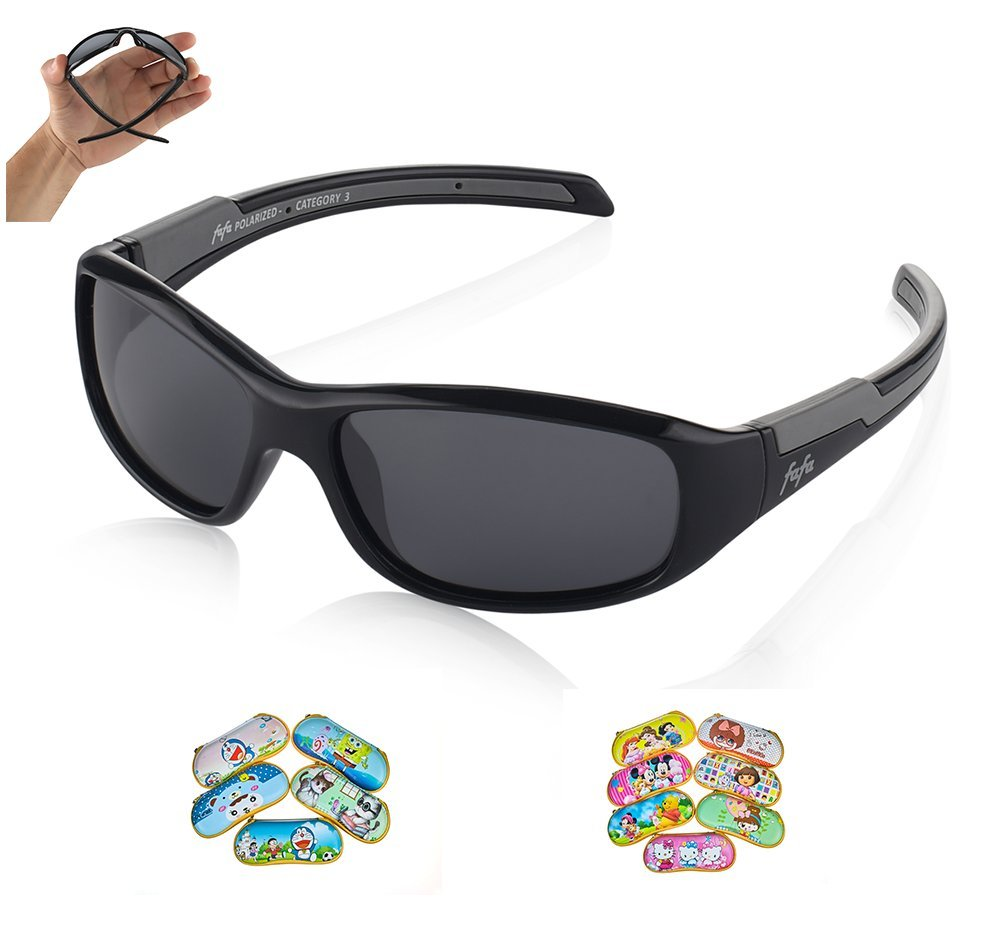 TAC Polarized Sunglasses Sports Glasses for Kids Boys and Girls Ages 3-8 Black and Grey with Cartoon case - Grey Lenses