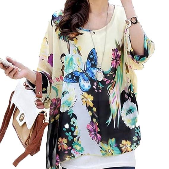 DJS Mujeres Blusa Fresca con Estampo de Flores Manga Corta Túnica de Gasa Blusa Camiseta Top