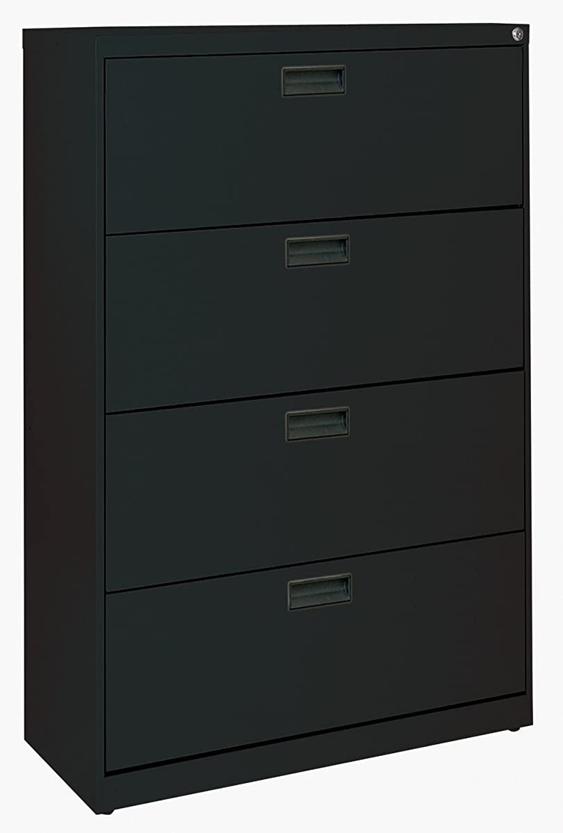 "Sandusky 400 Series Black Steel Lateral File Cabinet with Plastic Handle, 30"" Width x 53-1/4"" Height x 18"" Depth, 4 Drawers"