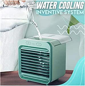 abcnature Rechargeable Water-Cooled Air Conditioner Eco-Friendly, Portable Ultra-Quiet Electric Fan, Cooling Cooler Spray Humidifier with USB Dual Battery Rechargeable,for Dormitory Office Desktop