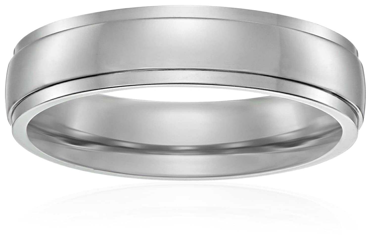 Men's Titanium 5mm Comfort Fit Plain Wedding Band with High Polish Finish and High Polish Bright Edges Amazon Collection