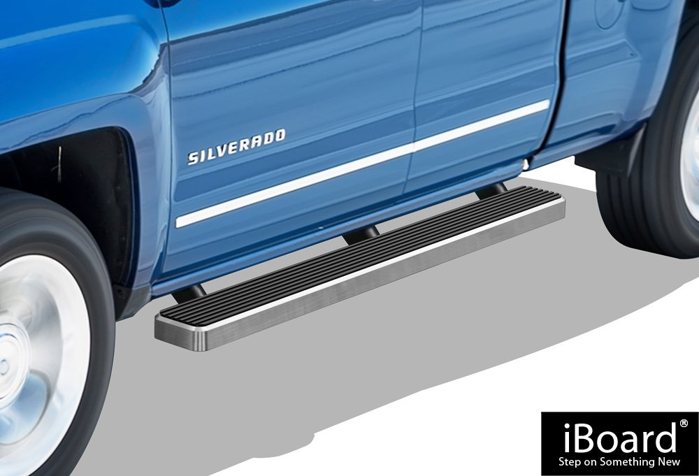 APS iBoard Running Boards 5' Custom Fit 2007-2018 Chevy Silverado/GMC Sierra Double Cab/Extended Cab (Nerf Bars | Side Steps | Side Bars) IB-C5195A