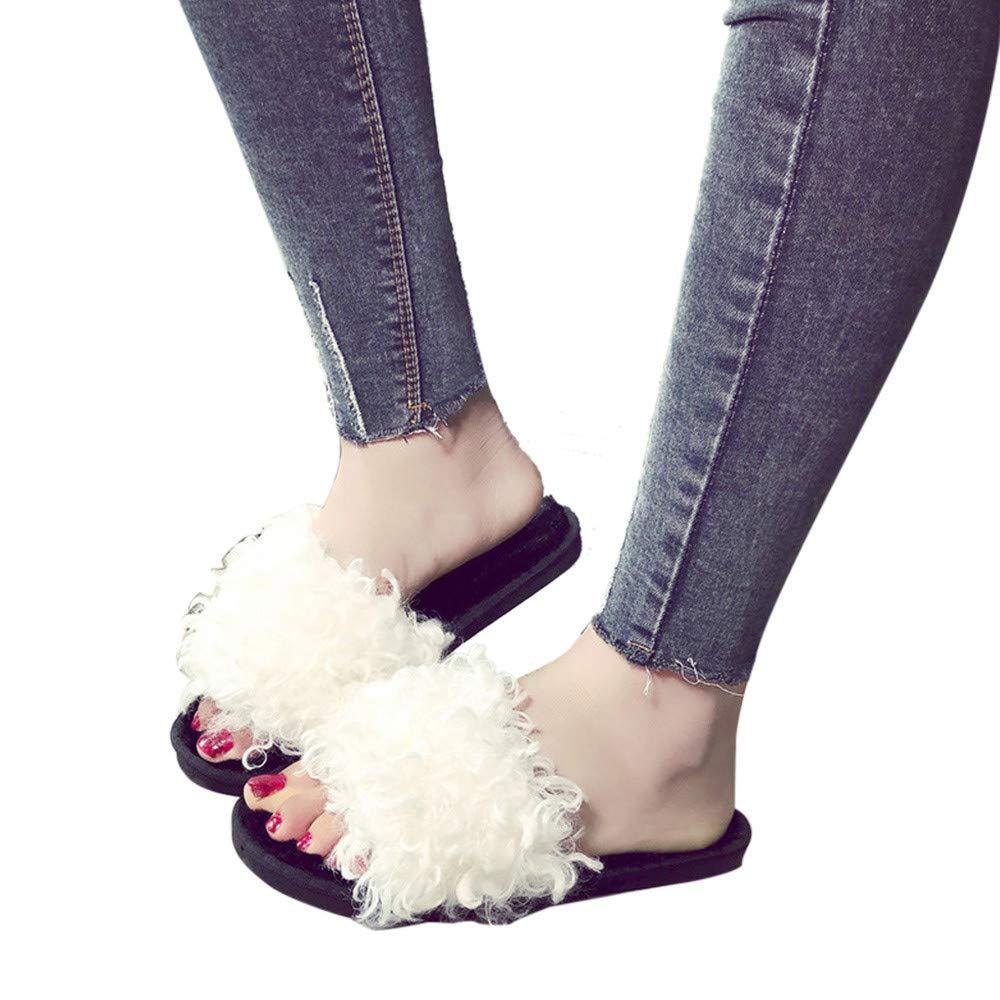 Slippers For Women,Clearance Sale, Farjing Slip On Sliders Fluffy Faux Fur Flat Slippers Flip Flop Sandals(US:6.5,White)