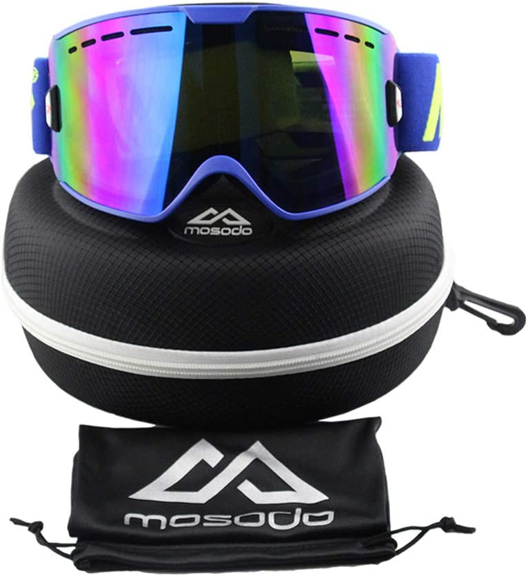 MOSODO Stylish Ski Goggles │ Anti-Scratch /& Anti-fog UV400 Protection All REVO Mirror Lens With Triple Breathable Foams /& TPU Frame │ Universal Design for All Winter Sports Fans!