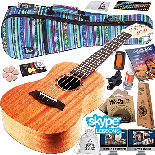 Ukulele Starter Kit (16-Piece-Set) Acclaimed Brand get Official SKYPE Lesson, Videos, Compression Case, No-Scratch Felt Picks, Clip Tuner, Chord Stamp, Poster, Strap, Strings & MORE (Amazon Exclusive) by Bondi Ukuleles