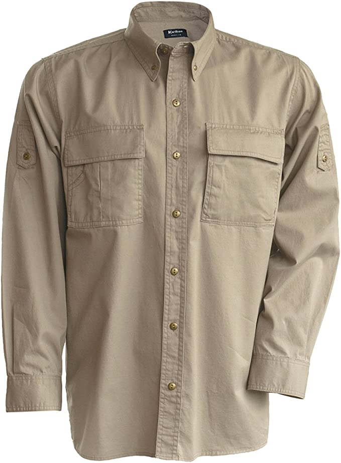 Kariban - Camisa manga larga Modelo Trophy Safari Hombre caballero - Trabajo/Fiesta/Naturaleza (Extra Grande (XL)/Beige): Amazon.es: Ropa y accesorios