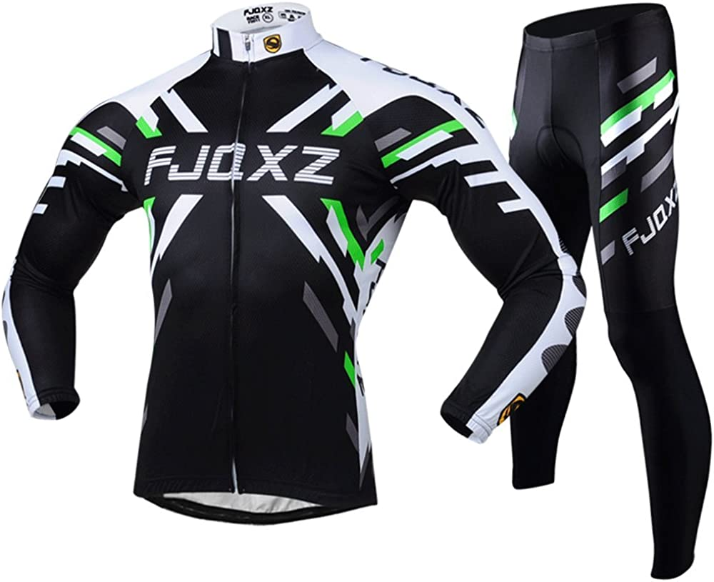 fjqxz Men's Cycling Jersey Breathable Quick Dry Long Sleeve Set Outfit F011C: Clothing