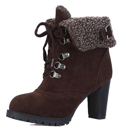 Easemax Femme Spécial Fourrure Bout Rond Low Boots Demoiselle Bottines Brun  32 EU d068526c2c2e