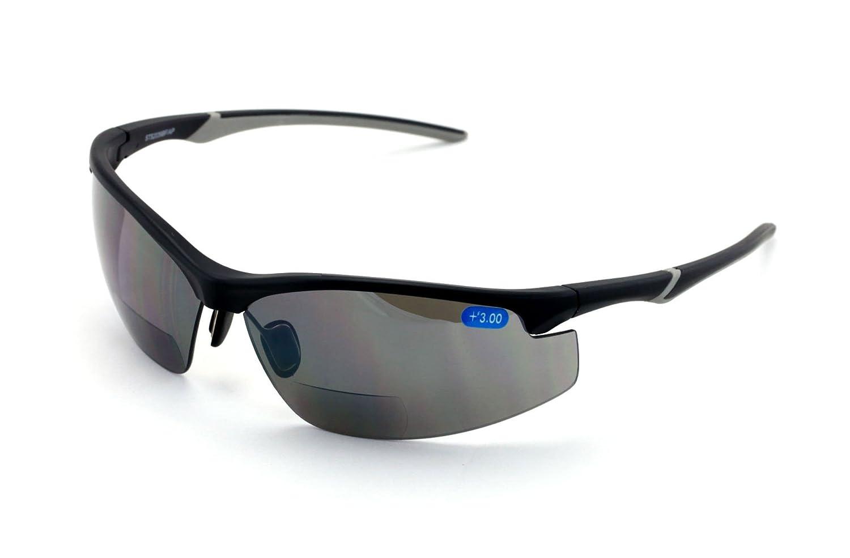 V.W.E. Rx-Bifocal High Performance Protective Safety Glasses Light Mirror Tint Bifocal - Sun Reader - Sunglasses Ansi Z87.1 (Matte Black, 1.50)
