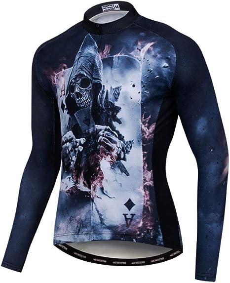 HAOHAOWU Jersey De Ciclismo Clásico, Camisa para Hombre Manga Larga Camisa De Bicicleta De Montaña Tops Transpirable Y De Secado Rápido Reflectante con Bolsillos,Blue,XXL: Amazon.es: Deportes y aire libre