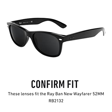 e8be9f36580 Revant Replacement Lenses for Ray-Ban New Wayfarer 52mm RB2132 Elite Adapt  Grey Photochromic  Amazon.co.uk  Clothing