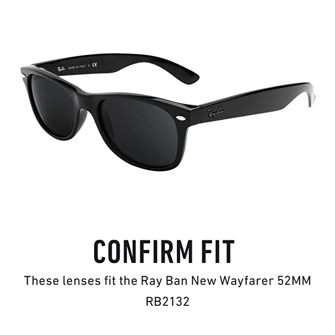 f25b4750a68 Revant Replacement Lenses for Ray-Ban New Wayfarer 52mm RB2132 Elite Adapt  Grey Photochromic  Amazon.co.uk  Clothing