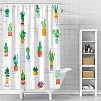 DESIHOM Cactus Shower Curtain 72x72 Inch Plant Shower Curtain Succulent Shower Curtain Green Botanical Shower Curtain…