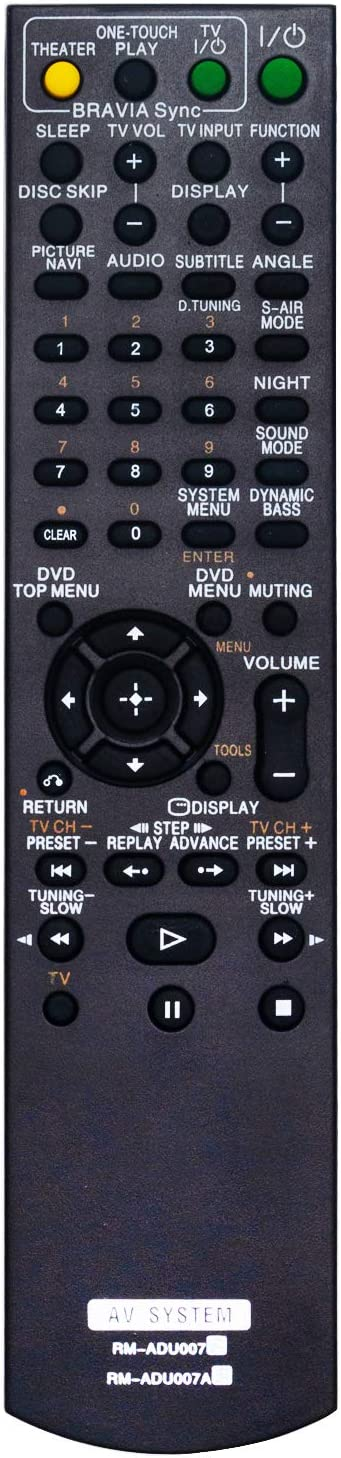 New RM-ADU007 RM-ADU007A Remote fit for Sony DVD Home Theatre System DAV-HDX275 DAV-HDX276 DAV-HDX475 DAV-HDX285 DAV-HDX585 DAV-HDZ273 DAV-HDZ278 DAV-HDZ284 DAV-HDZ485 DAV-HDX589W DAV-HDX279W