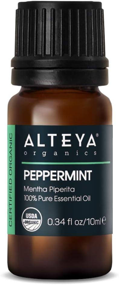 Aceite de menta orgánica Alteya (Mentha Piperita) 10 ml - 100% Aceite esencial de menta natural orgánico certificado por el USDA