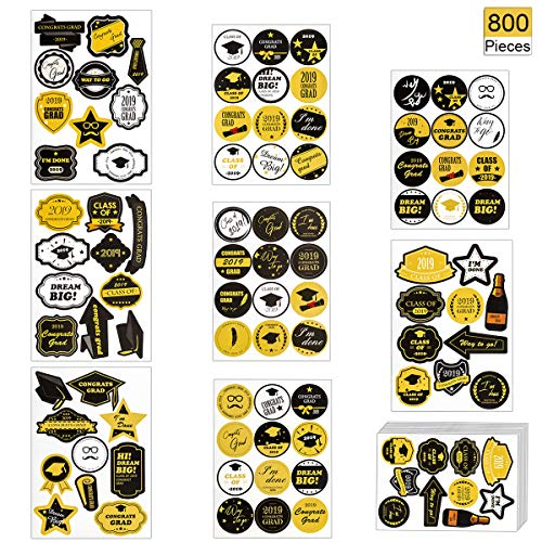 800 PCS 2019 Graduation Stickers, 88 Patterns Class of 2019 Self Adhesive Decals Kinds of Graduation Printed Designs Tag Labels for Gift Wrappings, EnvelopeSealing, Candies Decorative, Party Favor