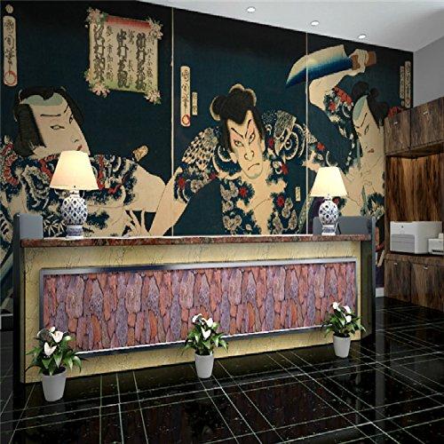 Sproud Large Mural Custom 3D Wallpaper Japanese Restaurant Ukiyo-E Warrior Tattoo Shop Tattoo Fig Fighting For Living Room 150Cmx105Cm