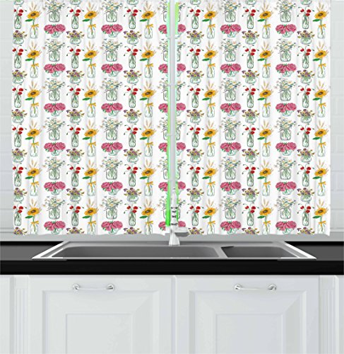 Lunarable Floral Kitchen Curtains, Colorful Sunflowers Daisi