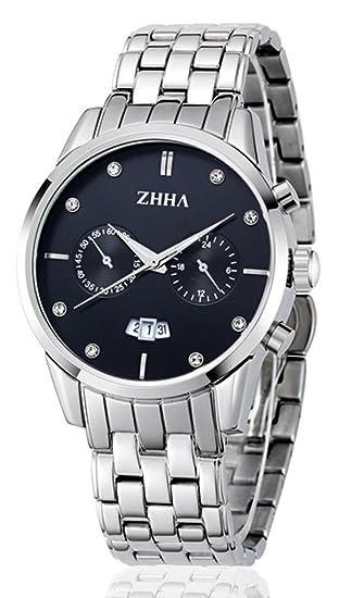 zh jamš®n Enshi fecha de acero inoxidable multifunciš®n cronš®grafo de cuarzo 013 dšªas reloj impermeable negro: Amazon.es: Relojes