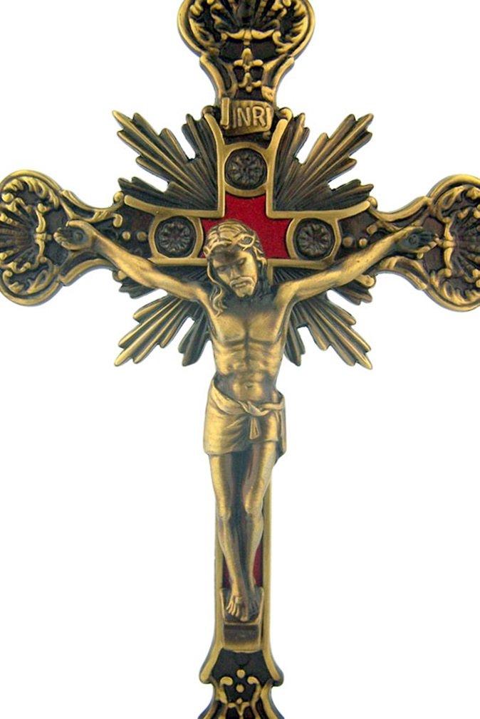 Jesus Christ on Cross Bronze Tone Standing Crucifix with Base 9 Inch SFI