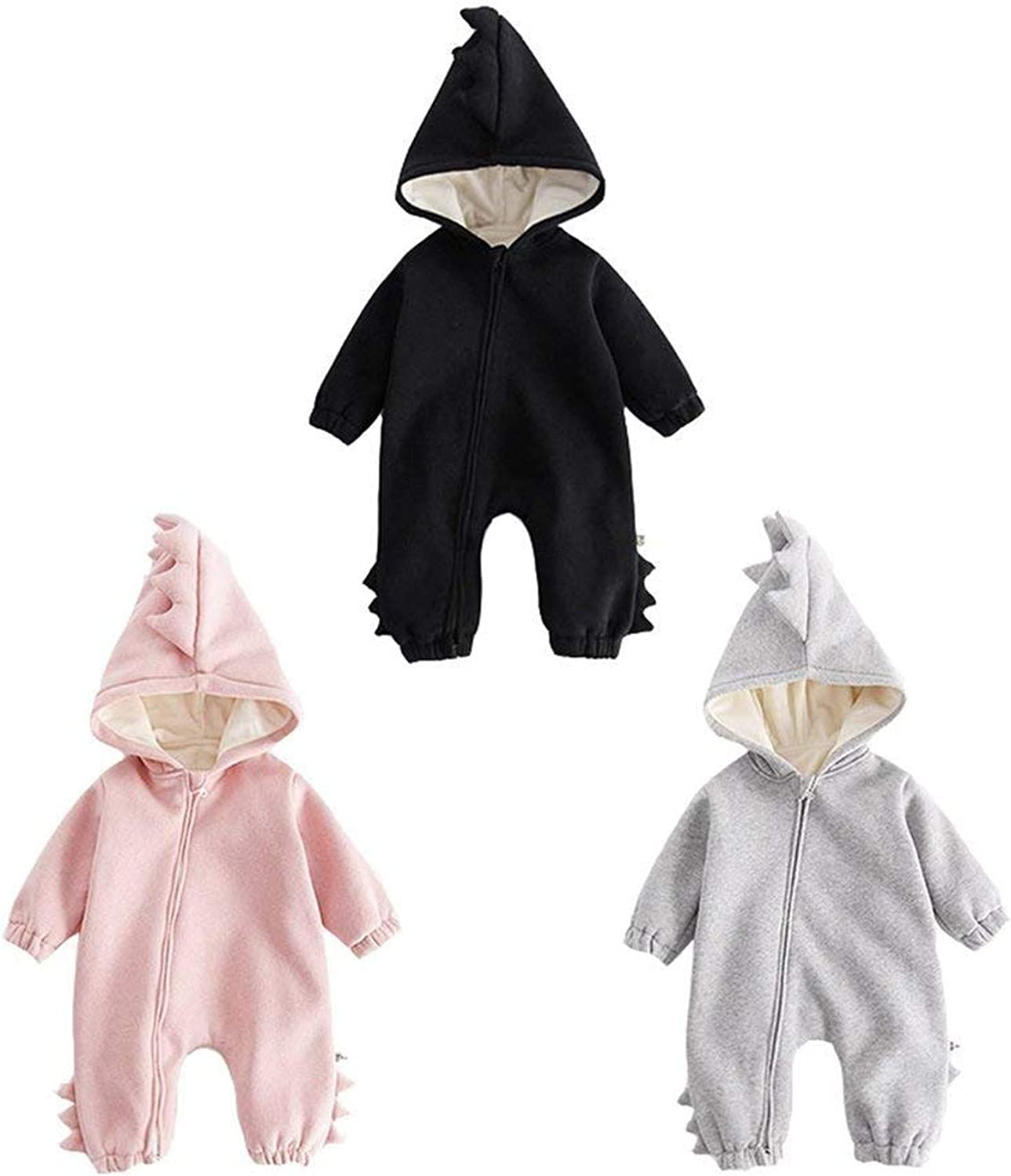 Carlos Foushee Infant Baby Boys-Girls Dinosaur Outfit Winter Warm Jumpsuit Thick Outwear