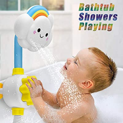 XEDUO Baby Showers Toys Cloud Baby Bath Toys Bathtub Showers Bathing Spouts Suckers Folding Spray Faucet: Toys & Games
