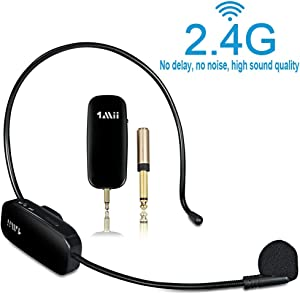1Mii Long Range Wireless Microphone, Wireless Headset Mic System,160ft Range, 2.4G Wireless Microphone 2 in 1,Fitness Microphone Headset for Speakers, Voice Amplifier, PA Speakers