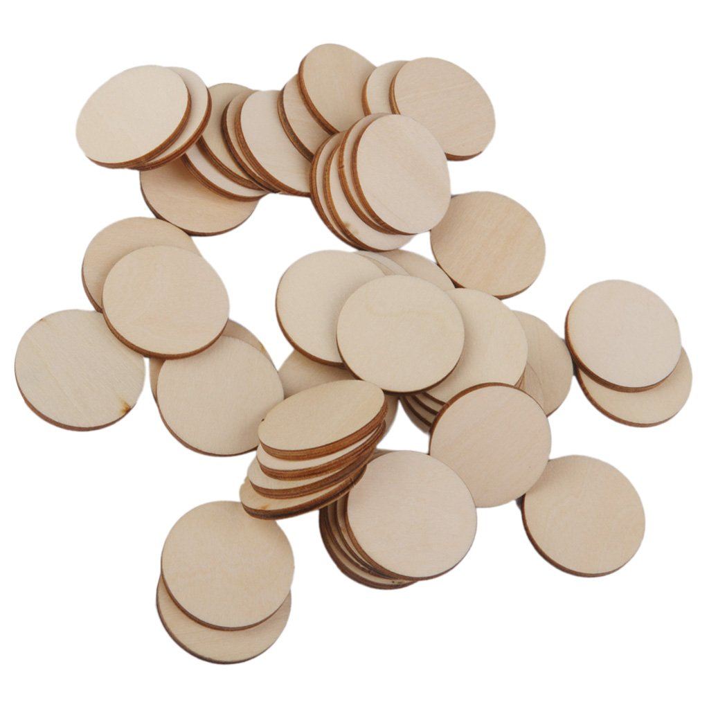 Fityle 80 Pieces 30mm 40mm Round Wood Disc Unfinished Wood Cutout Circles Blank Wooden Slices Pieces for DIY Art Craft Project and Wedding Christmas Party Embellishment