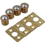 BQLZR 9.5x10mm Cylindrical Gold Brass Cabinet Closet Spring Door Ball Catch & Strike Plate Furniture Hardware Pack of 4