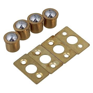 BQLZR 9.5x10mm Cylindrical Gold Brass Cabinet Closet Spring Door Ball Catch \u0026 Strike Plate Furniture