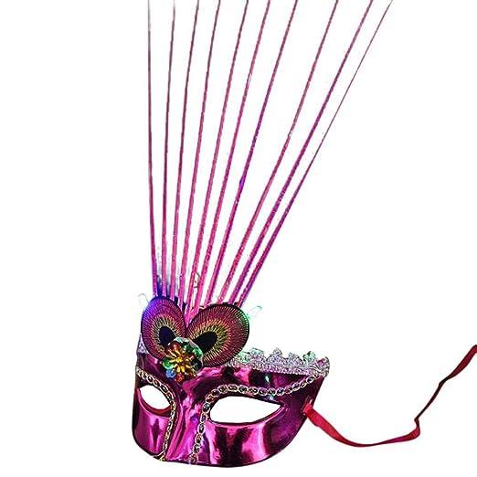 Auwer Masquerade Mascarilla de Fibra LED para Mujer Mardi ...