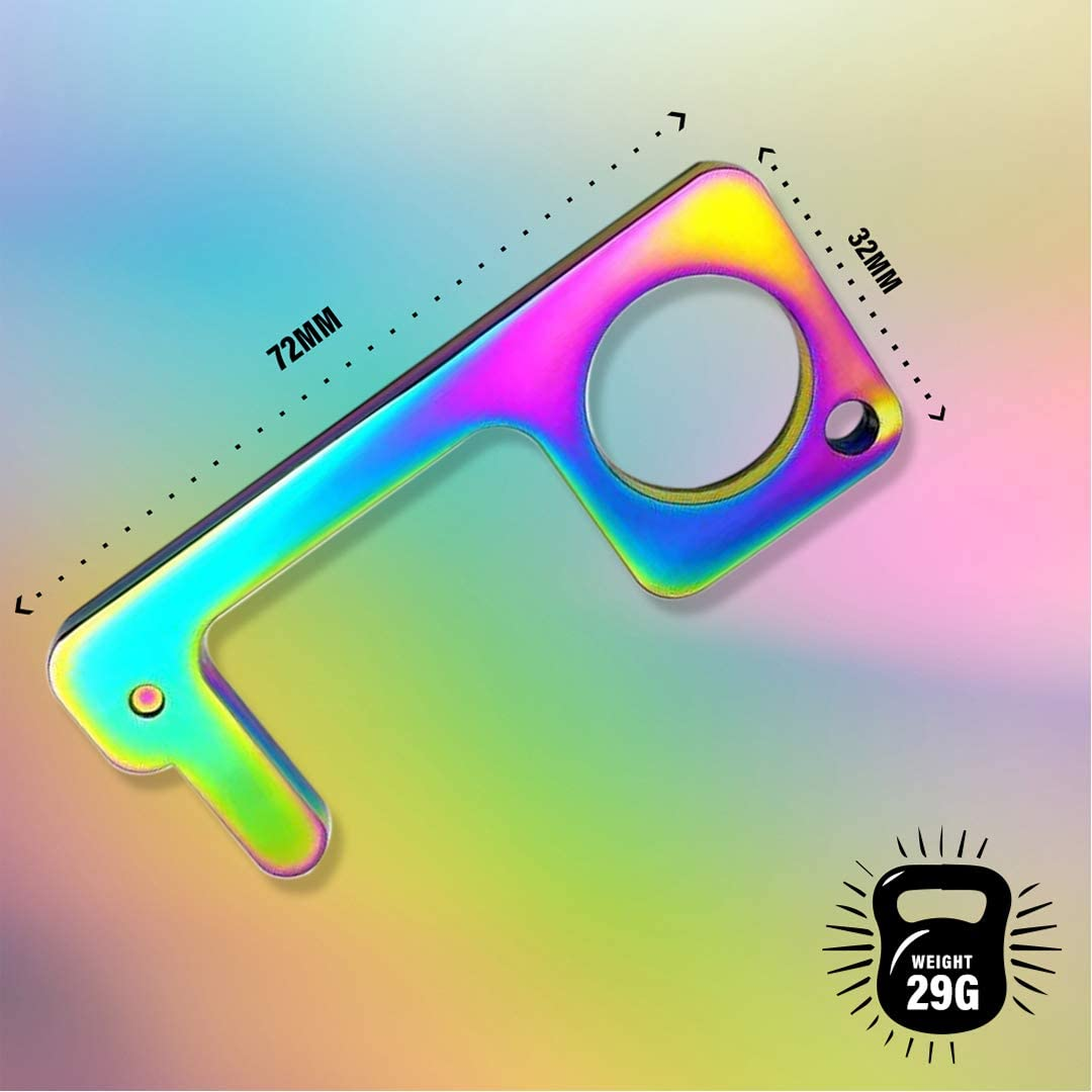 SILKBON Rainbow Keep Clean Key No Touch Keychain Hook Door Handle Opener Hygienic Safety Cleankey for Touchscreen Handle No Contact Contactless Metal Alloy Antimicrobial EDC Door Opening Tool