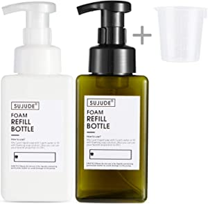 Foam Soap Dispenser Plastic Clear Foaming Hand Soap Pump Bottle Container for Kitchen Bathroom Office Hospital Refillable(Pack of 2(White+Green), 450 ml)