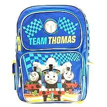 "Team Thomas the Train Engine 16"" Canvas Blue School Backpack No1 Thomas"