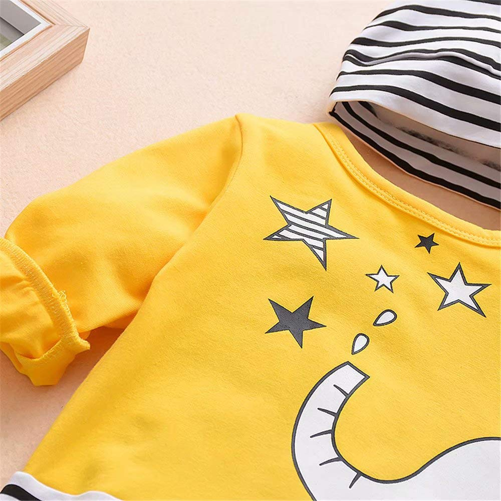 KimSoong Newborn Baby Boy Girl 2Pcs Clothes Infant Cute Elephant Striped Long Sleeve Romper Jumpsuit with Hat Outfits