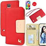 Galaxy S5 Case,[2PCS HD Screen Protectors]By HiLDA,Wallet Case,PU Leather Case,Credit Card Holder,Flip Cover Skin,Galaxy SV I9600[Red]