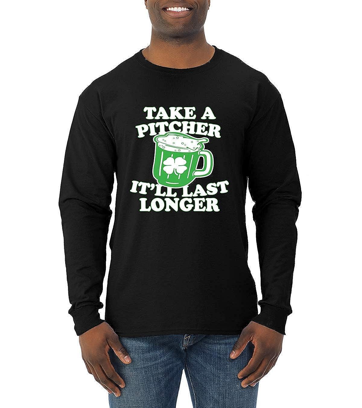 0e25d004e HOLDWOO TESS Take a Pitcher It'll Last Longer St. Patrick's Day Long Sleeve  T-Shirt Black | Amazon.com