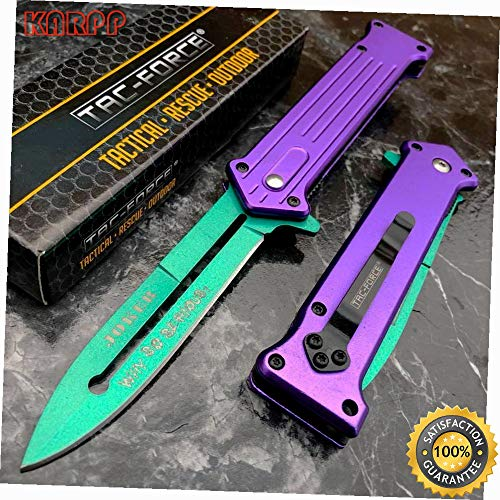 - Assisted Open Purple Joker Why So Serious? Green Blade Knife - Outdoor Camping perfect For Hunting EDC EMT