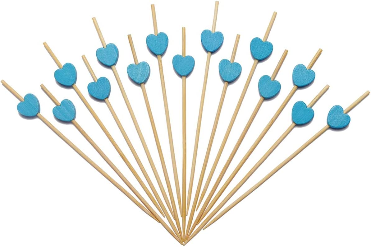 Minisland Blue Heart Skewers for Appetizers Fruit Kabobs Long Bamboo Cocktail Toothpicks Baby Shower Wedding Valentines Party Food Drinks Decoration Sticks Disposable 4.7 Inch 100 Counts -MSL133